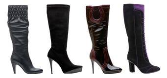 Zwarte vrouwelijke high-heeled laarzen Stock Foto's