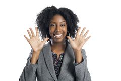 Zwarte Vrouwelijke Onderneemster Looking Happy stock afbeelding