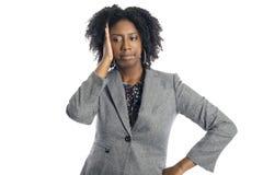 Zwarte Vrouwelijke Onderneemster Looking Upset van Mislukking stock afbeelding