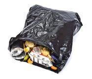 Zwarte vuilniszak Stock Foto's