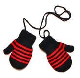 Zwarte vuisthandschoenen met rode streep Stock Fotografie