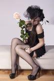Zwarte weduwe in zorg Royalty-vrije Stock Afbeelding
