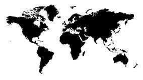Zwarte wereldkaart Royalty-vrije Stock Afbeelding