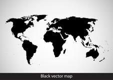 Zwarte wereldkaart op witte achtergrond, vlakke stijl Stock Afbeeldingen