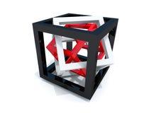 Zwarte, witte en rode draad-kader kubussen Stock Foto