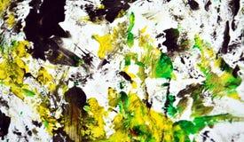 Zwarte witte gele contrasten, de achtergrond van de verfwaterverf, abstracte het schilderen waterverfachtergrond stock afbeelding