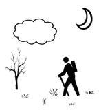 Zwarte witte illustratie van wandelaar royalty-vrije stock fotografie