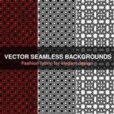 Zwarte witte rode naadloze patroonachtergrond Manierstof voor elegant ontwerp Abstracte geometrische kaders Modieuze decoratieve  Royalty-vrije Stock Afbeeldingen