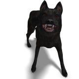 Zwarte Wolf. het 3D teruggeven met het knippen van weg en royalty-vrije illustratie