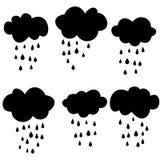 Zwarte wolken met dalingen rooster Royalty-vrije Stock Foto