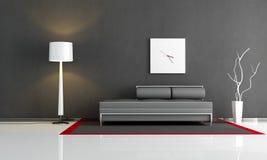 Zwarte woonkamer Stock Afbeeldingen