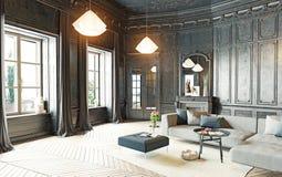 Zwarte woonkamer Royalty-vrije Stock Afbeelding