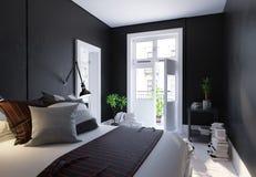 Zwarte woonkamer binnenlandse, Skandinavische stijl Stock Afbeeldingen