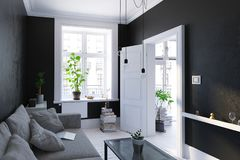 Zwarte woonkamer binnenlandse, Skandinavische stijl Royalty-vrije Stock Afbeelding