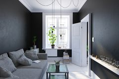 Zwarte woonkamer binnenlandse, Skandinavische stijl Stock Foto