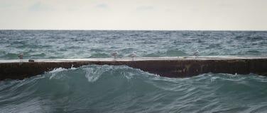 Zwarte Zee, zeemeeuw die op de golfbreker de lopen Stock Afbeelding