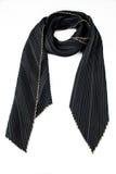 Zwarte zijde geplooide sjaal Royalty-vrije Stock Afbeeldingen