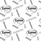 Zwarte zilveren liefde u voor altijd de achtergrond van het woordpatroon Royalty-vrije Stock Afbeeldingen