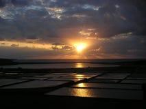 Zwarte zonsondergang Stock Foto