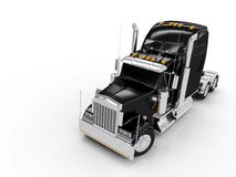 Zwarte zware vrachtwagen Royalty-vrije Stock Afbeelding