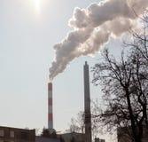 Zwartego dymu zanieczyszczania powietrze Obrazy Royalty Free