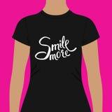 Zwarteoverhemd met Conceptuele Glimlach Meer Teksten vector illustratie