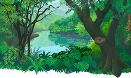 Zwarty, zielony tropikalny las, i bieżąca świeżej wody rzeka royalty ilustracja