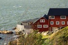 Zweden, Gothenburg, het huis op de kust royalty-vrije stock fotografie