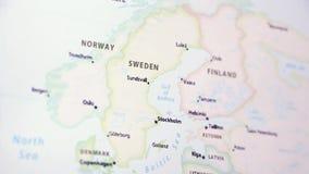 Zweden op een kaart stock footage