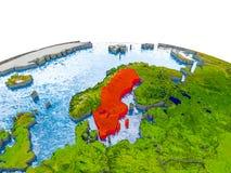 Zweden op model van Aarde Stock Foto