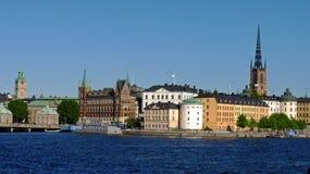 Zweden, Stockholm, mening van de stad en zijn paleizen stock afbeelding
