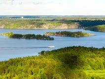 Zweden, Stockholm Satellietbeeld van kleine eilanden F stock afbeeldingen