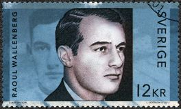 ZWEDEN - 2012: toont Raoul Gustaf Wallenberg 1912-1945, Zweedse architect, zakenman, diplomaat en humanitair royalty-vrije stock foto's