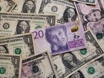 Zweeds bankbiljet van kronor 20 en Amerikaanse dollarrekeningen, achtergrond en textuur royalty-vrije stock fotografie