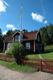 Zweeds huis in Astrid Lindgrens Katthult Royalty-vrije Stock Foto's
