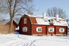 Zweedse architectuur bij wintertijd. royalty-vrije stock foto