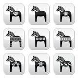 Zweedse Dala, Dalecarlian-paard met de winter, Noordse patroonknopen Stock Afbeeldingen