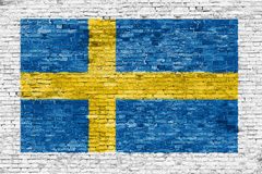 Zweedse die vlag over witte muur wordt geschilderd Stock Fotografie
