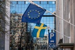 Zweedse en Europese Unie Vlaggen stock afbeelding
