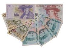 Zweedse kronorbankbiljetten Stock Foto's