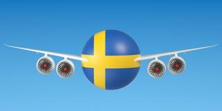 Zweedse luchtvaartlijnen en flying& x27; s concept het 3d teruggeven Stock Afbeeldingen