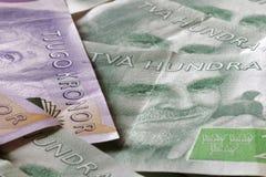 Zweedse munt, 20 SEK en 200 SEK, nieuwe lay-out 2015 Royalty-vrije Stock Foto's