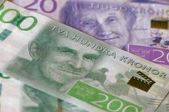 Zweedse munt, 20 SEK en 200 SEK, nieuwe lay-out 2015 Royalty-vrije Stock Fotografie