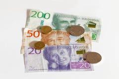 Zweedse munt, 20 SEK en 200 SEK, nieuwe lay-out 2015 Royalty-vrije Stock Afbeelding