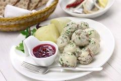 Zweedse vleesballetjes, kottbullar svenska Stock Fotografie