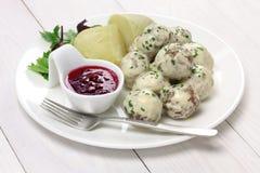 Zweedse vleesballetjes, kottbullar svenska Stock Foto