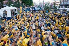 Zweedse voetbalventilators op euro 2012 Stock Fotografie