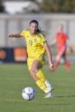 Zweedse vrouwelijke voetbalster - Pauline Hammarlund Royalty-vrije Stock Foto's