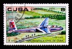 Zweefvliegtuig, verjaardag 10 van het Instituut van Burgerluchtvaart, circa 1974 Stock Afbeelding