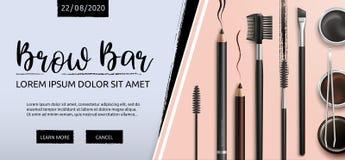 Zweep en Brow-Bar makeup toebehoren Hulpmiddelen voor zorg van brows Wenkbrauwenpotlood Hoekborstel, pincet en kam stock illustratie